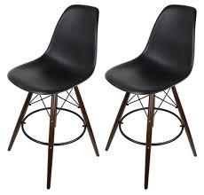 2 x black eames style dsw bar stool with dark walnut wood eiffel legs