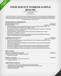 Culinary Arts Resume Sample by Sample Resume Food Service Sample Resume Text Food Service Manager