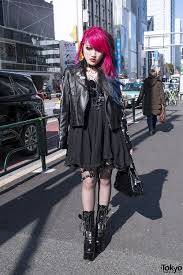 all black motorcycle jacket dip dye hair biker jacket spiked garter u0026 demonia boots in harajuku