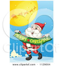 clipart jolly santa holding merry christmas banner royalty