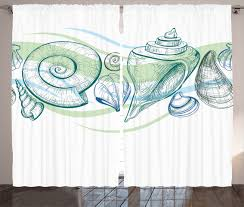 Mint Home Decor Curtains 2 Panels Set With Seashells Sketch Mint Home Decor
