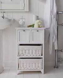 Freestanding Bathroom Furniture Cabinets Connecticut Freestanding White Bathroom Cabinet With Baskets And
