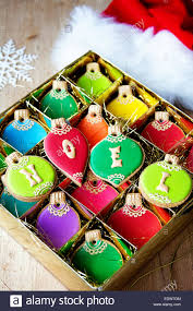 gift box of christmas ornament cookies stock photo royalty free