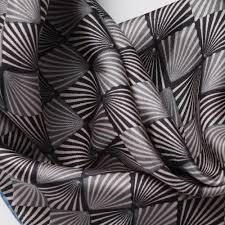 silk square scarf in art deco design cleverly wrapped