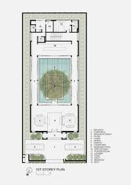 patio house plans modern house with water surrounded courtyard in the center