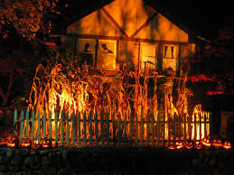 orange and purple halloween town background i like the light through the corn up onto the house nice effect