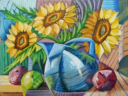 cubism flower painting alan laurie design cubist