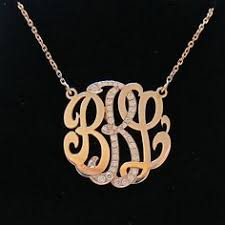 gold monogram initial necklace medium 14k gold monogram necklace with diamond middle initial