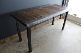 60 x 24 desk 24 x 60 industrial desk with raw steel trim and straight steel legs