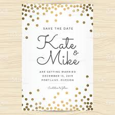 Invitation Card Save The Date Wedding Invitation Card With Golden Dots Background
