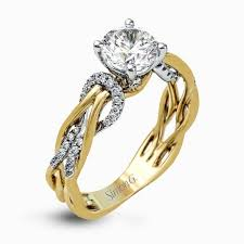 pre engagement ring 18k white yellow gold twisted band engagement ring fabled