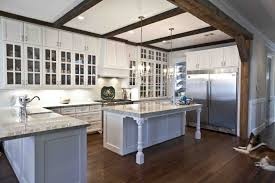 Cottage Kitchen by Kitchen Style Open Shelves Wood Countertops White Distressed