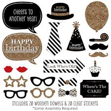 photo booth props happy birthday gold photo booth props kit 20 count
