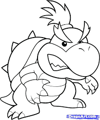 stunning remarkable bowser coloring print pages pin drawn 2 pencil