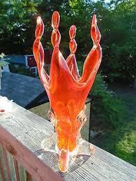 Vintage Orange Glass Vase 13 Inch Signed Chalet Canada Art Glass