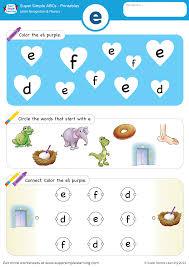 letter recognition u0026 phonics worksheet u2013 e lowercase super simple