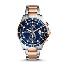 fossil steel leather bracelet images Wakefield chronograph two tone stainless steel watch fossil