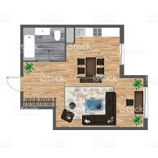 architectural color floor plan studio apartment vector