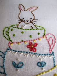 bunny with brolly embroidery final finished embroidery
