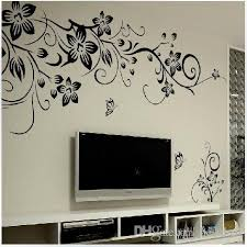 living room wall stickers 027s 80 100cm black flower vine wall stickers home decor large