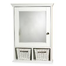 Bed Bath And Beyond Bathroom Mirrors by White Medicine Cabinet With Wicker Baskets Bed Bath U0026 Beyond