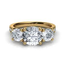 trellis trilogy 3 stone pavé diamond engagement ring in 14k yellow