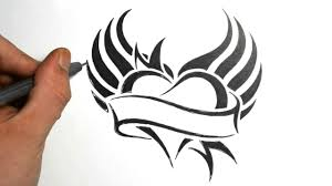 tribal tattoo drawings designs how to draw a heart with wings