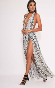 pretty thing dresses alina snake print plunge maxi dress dresses