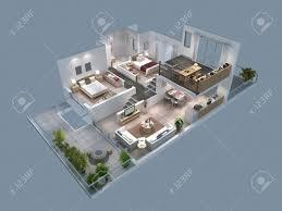 villa plan 3d illustration of isometric villa plan stock photo picture and