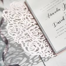 wedding invitation pockets blush pink and gray laser cut pocket wedding invitations swws040