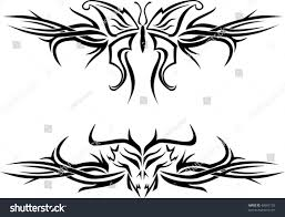 butterfly evil skull tattoos tribal designs stock vector 48697102