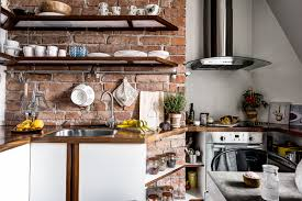 red brick kitchen backsplash