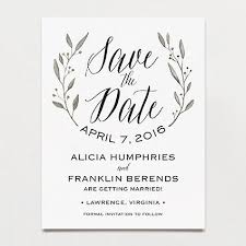 postcard save the dates simple wreath save the date postcard printable press
