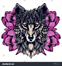 vector illustration graphic elements wolf tattoo stock vector