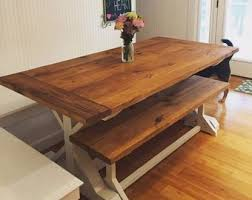 farm table with bench farm table and bench etsy