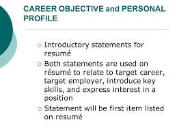 personal profile on resume chapter 13 job search skills ppt video online download