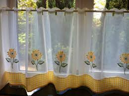interior sunflower patterned wahite sheer cafe curtains for cozy