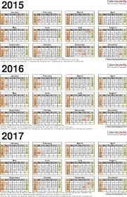 2015 2016 2017 calendar 4 three year printable excel calendars