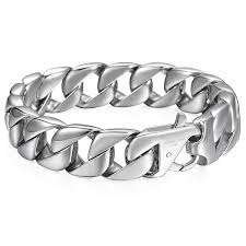 stainless steel chain bracelet images 14mm silver chain bracelet for mens curb link cuban 316l stainless JPG