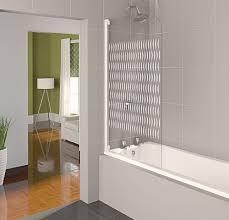 aqualux white aqua 4 ribbon etched glass half frame bath shower