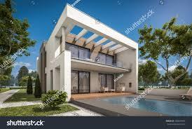 large garage 3d rendering modern cozy house garage stock illustration 700647994