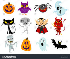 set funny halloween cartoons cute halloween stock vector 291758738