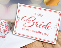 Card From Bride To Groom On Wedding Day Letter To My Bride Etsy