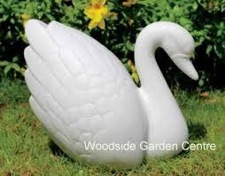 enigma marble resin white swan garden ornament woodside garden