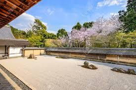 Rock Garden Japan Kyoto Japan The Ryoan Ji Temple Zen Rock Garden In The