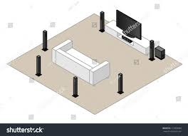 home theater floor plan 71 home theatre setupwith subwoofer centre stock vector 113459584