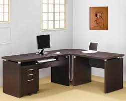 White L Shaped Office Desk by Neutral Home Office Decoration With White Wall Also Brown L Shaped