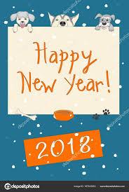 imagenes graciosas año nuevo 2018 año nuevo divertidos tarjeta azul oscuro con tres perros de dibujos