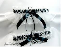 Checkered Flag Ribbon Checkered Flag Racing Wedding Garters White Garter