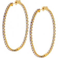 inside out diamond hoop earrings womens in out diamond hoop earrings 14k yellow gold 4 04 ct